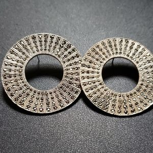 Flawless sterling and marcasite pierced earrings